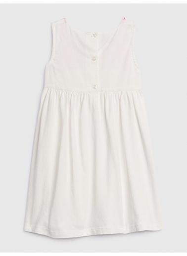 Gap İşleme Detaylı Kolsuz Elbise Beyaz